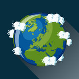Mapa de Europa na terra do planeta, vista do espaço Foto de Stock