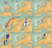 Mapa de Europa - o estilo do verão ajustou 4 Fotos de Stock Royalty Free