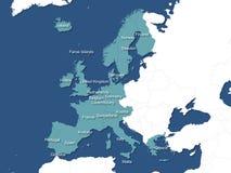 Mapa de Europa ocidental Imagem de Stock