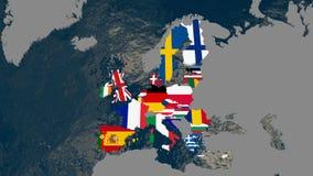 Mapa de Europa, países membros textured com bandeiras - ilustração 3D fotos de stock royalty free