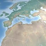 Mapa de Europa y de la África del Norte Foto de archivo libre de regalías