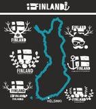 Mapa de Finlandia com etiquetas do país Foto de Stock