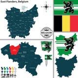 Mapa de Flanders do leste, Bélgica Imagens de Stock