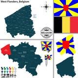 Mapa de Flanders ocidental, Bélgica Imagem de Stock Royalty Free