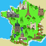Mapa de França Imagens de Stock