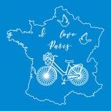 Mapa de França, bicicleta, pombos Imagens de Stock