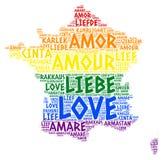 Mapa de França do arco-íris de LGBT ilustrado com palavra do amor Imagens de Stock Royalty Free