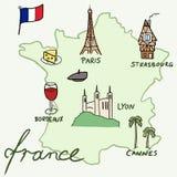 Mapa de França Fotografia de Stock Royalty Free