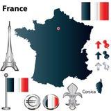 Mapa de France Fotografia de Stock Royalty Free