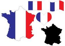 Mapa de France com bandeira e coração Fotografia de Stock Royalty Free