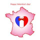 Mapa de Francia con la bandera y el corazón Imágenes de archivo libres de regalías