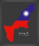 Mapa de Gaoxiong Shi Taiwan com o illustratio taiwanês da bandeira nacional Imagens de Stock Royalty Free
