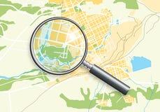 Mapa de Geo da cidade e lente de zoom Fotos de Stock