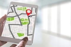 Mapa de GPS à rua do lugar da conexão de rede do destino da rota foto de stock royalty free