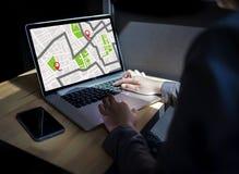 Mapa de GPS à rua do lugar da conexão de rede do destino da rota Imagem de Stock Royalty Free