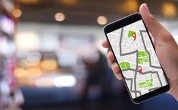 Mapa de GPS a la calle de la ubicación de la conexión de red de destino de ruta Imágenes de archivo libres de regalías