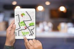 Mapa de GPS a la calle de la ubicación de la conexión de red de destino de ruta Fotos de archivo