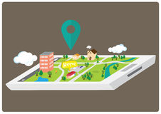 Mapa de GPS Smartphone Fotografia de Stock Royalty Free