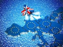 Mapa de Gran Bretaña con el motor del barco que sale de la unión europea ilustración 3D Imagen de archivo