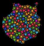 Mapa de Gran Canaria del mosaico de las hojas multicoloras del cáñamo ilustración del vector