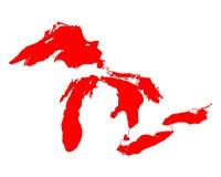 Mapa de Great Lakes Imágenes de archivo libres de regalías