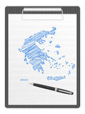 Mapa de Greece da prancheta Imagem de Stock