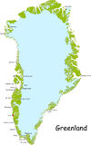 Mapa de Greenland Foto de Stock Royalty Free