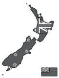 Mapa de Grey New Zealand Flag In ilustração stock