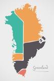 Mapa de Groenlandia con los estados y las formas redondas modernas Fotos de archivo libres de regalías