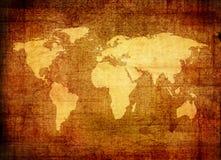 Mapa de Grunge do mundo Foto de Stock