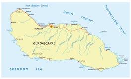 Mapa de Guadalcanal Island ilustración del vector