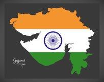 Mapa de Gujarat com ilustração indiana da bandeira nacional Fotos de Stock