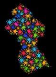 Mapa de Guyana del mosaico de las hojas coloridas del cáñamo libre illustration