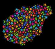 Mapa de Hainan del mosaico de las hojas brillantes del cáñamo stock de ilustración
