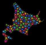 Mapa de Hokkaido del mosaico de las hojas multicoloras del cáñamo libre illustration