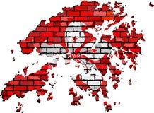 Mapa de Hong Kong en una pared de ladrillo Imágenes de archivo libres de regalías