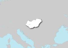 Mapa de Hungria Fotografia de Stock Royalty Free
