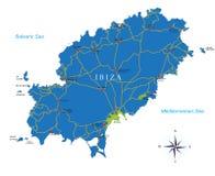 Mapa de Ibiza Ilustração do Vetor
