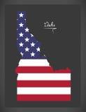 Mapa de Idaho com ilustração americana da bandeira nacional Fotografia de Stock