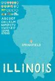 Mapa de Illinois Imagens de Stock