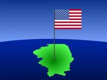 Mapa de Illinois com bandeira Fotografia de Stock Royalty Free
