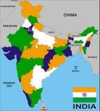 Mapa de India Fotos de Stock Royalty Free