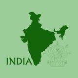Mapa de India ilustração do vetor