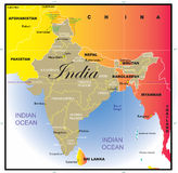 Mapa de India com estados. Fotos de Stock Royalty Free