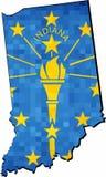 Mapa de Indiana del Grunge con el interior de la bandera ilustración del vector