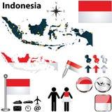 Mapa de Indonésia Imagem de Stock