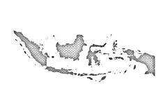 Mapa de Indonésia no linho velho ilustração do vetor