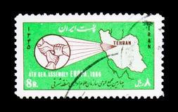 Mapa de Irã, mãos de bloqueio, 4o reunião do público admin Fotografia de Stock