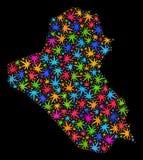 Mapa de Iraq del mosaico de las hojas brillantes del cáñamo stock de ilustración