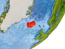 Mapa de Islândia na terra Fotografia de Stock Royalty Free